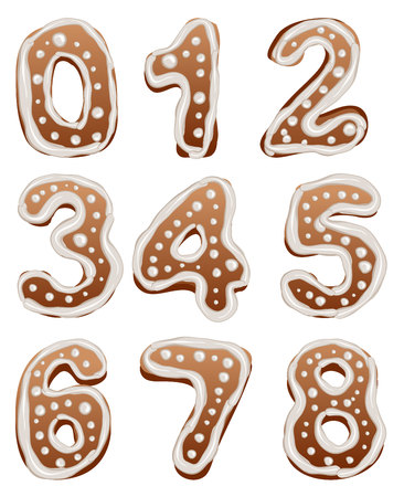 gingerbread cake: Set Baking gingerbread number. Isolated illustration in vector format