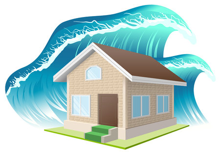 Property insurance. Flood. Wave washes away home. Illustration in vector format