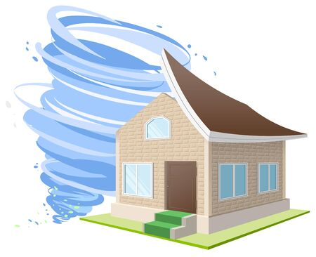 winds: Hurricane winds blew the roof off the house. Property insurance. Illustration in vector format