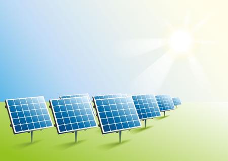 Solar power. Solar panels in field. Illustration in vector format Vectores