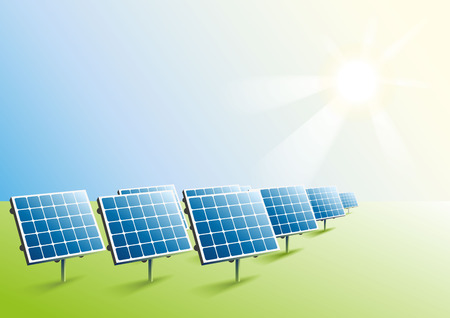Solar power. Solar panels in field. Illustration in vector format Stock Illustratie