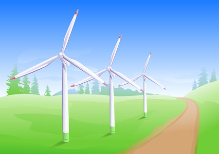 generator industry: Wind power industry. Windmill energy generator. Illustration in vector format Illustration