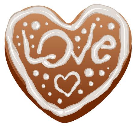 심장 모양 진저 케이크입니다. 고립 된 그림 벡터 형식으로