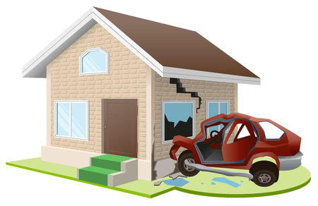 accommodation: Car crashed into house. Accommodation insurance. Illustration in vector format