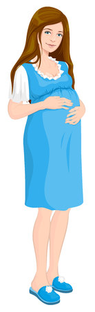 Young pregnant woman holds her hands on stomach. Future mom. Isolated illustration in vector format Illustration