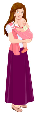sling: Mom holding baby in sling. Beautiful young mother and child. Isolated illustration in vector format