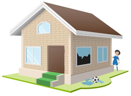 misfortune: Boy broke window. Property insurance. Illustration in vector format