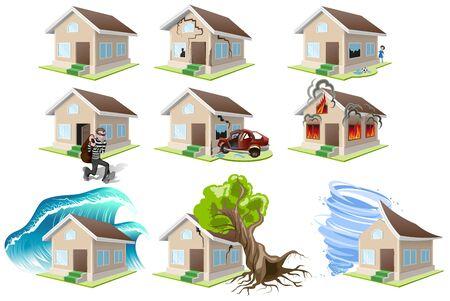 Set homes misfortune. House insurance. Property insurance. Isolated on white vector illustration Stock Illustratie