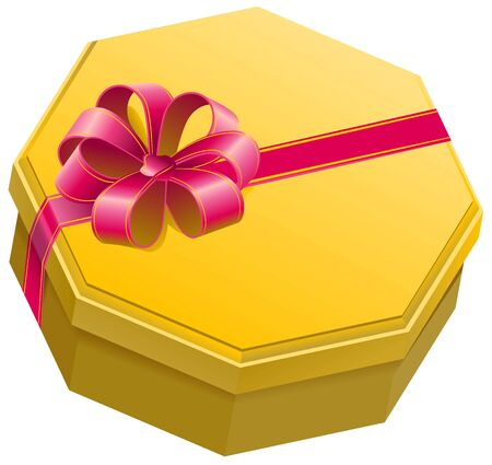 gift bow: Yellow gift box with ribbon and bow. Isolated illustration in vector format