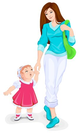 toddler walking: Mother and toddler walking. Young mother and little child. Isolated illustration in vector format