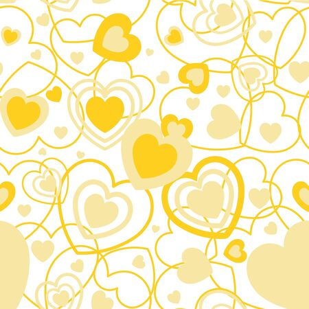 yellow heart: Yellow Heart shape seamless background. Template valentine greeting card. Illustration in vector format Illustration