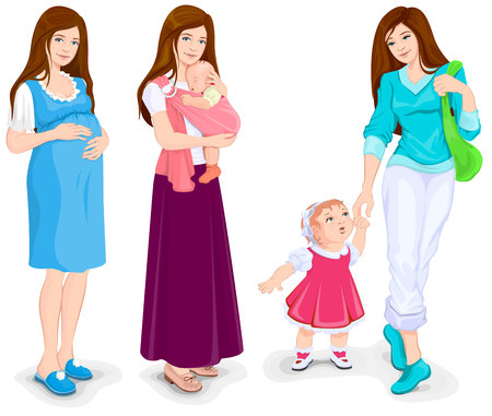 woman girl: Young pregnant woman. Mother and toddler walking. Young mother and little child. Isolated illustration in vector format