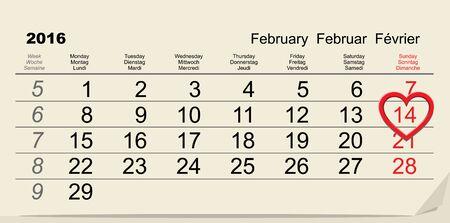 february 14: February 14, 2016 Valentines Day calendar. Illustration in vector format Illustration