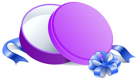 unpacking: Purple Round open gift box. Isolated illustration in vector format
