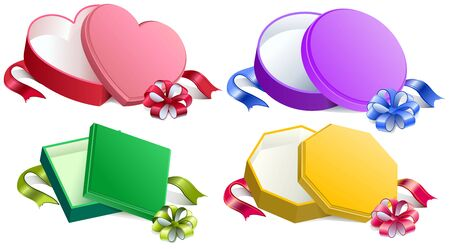 unpacking: Set open gift box with ribbon and bow. Isolated illustration in vector format