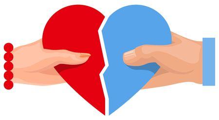Vrouwelijke en mannelijke hand die hart symbool van liefde houdt. Twee halve hart. Illustratie in vector formaat