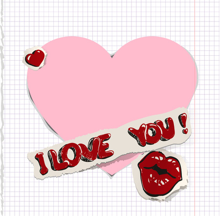 Pink lips: I love you. Heart and kiss on paper. Illustration in vector format