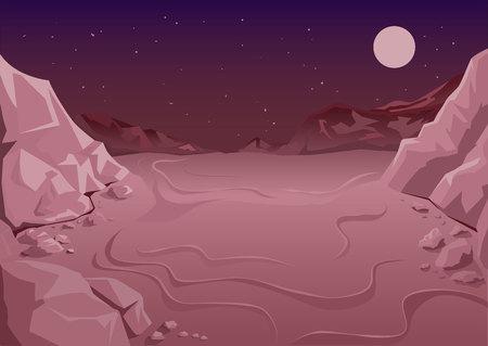 Niezamieszkane planety w przestrzeni kosmicznej. Martian nocy. Ilustracja w formacie wektorowym Ilustracje wektorowe