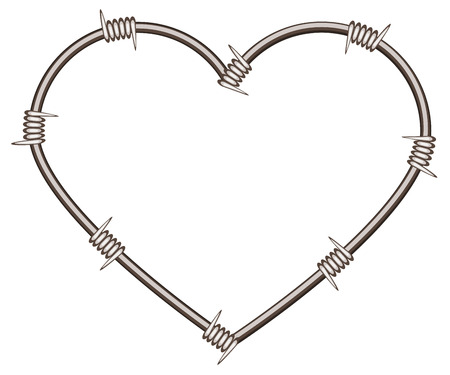 format: Heart shape of barbed wire. Isolated illustration in vector format