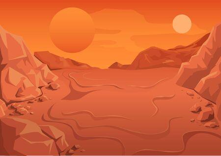 El planeta rojo Marte en el espacio. paisaje del espacio. Ilustración en formato vectorial