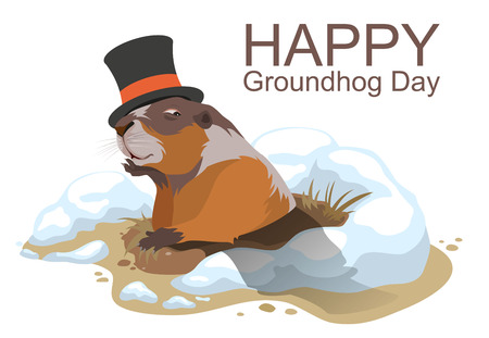 animals and pets: Happy Groundhog Day. Marmot climbed out of hole and yawns. Illustration in format Illustration
