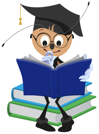 format: Ant Student reading book. Isolated cartoon illustration in format Illustration