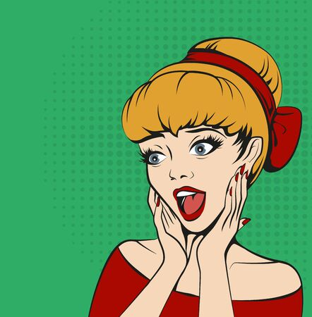 cheeks: woman in delighted pressed her hands to her cheeks. Fun cartoon illustration Illustration