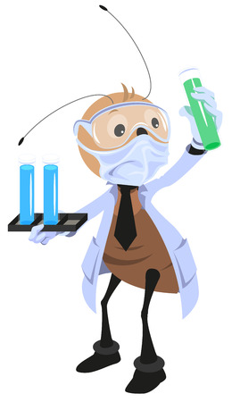 hormiga caricatura: cient�fico hormiga sosteniendo matraz. Aislado en blanco ilustraci�n