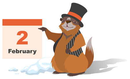 Happy Groundhog Day. Marmot holding February 2. Illustration in format