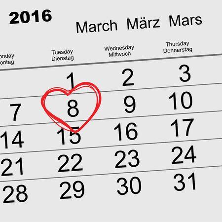 march: 2016 March 8 International Womens Day. Calendar illustration in format Illustration