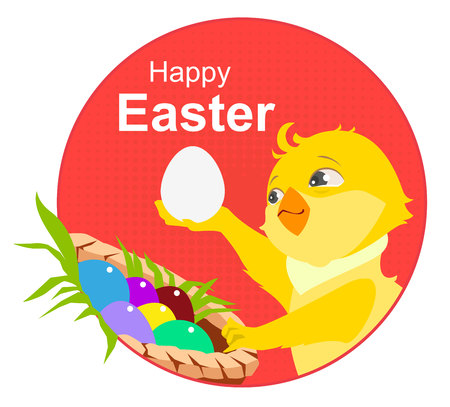 cartoon easter basket: Happy easter. Yellow chicken and easter eggs. Illustration in vector format