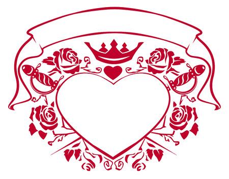 Emblema del amor - la forma del corazón, daga, corona, cinta y las rosas. Ilustración en formato vectorial