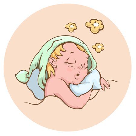 sweetly: The baby sleeping sweetly. Illustration in vector format