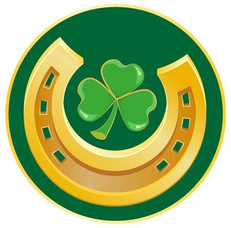 golden horseshoe: Golden Horseshoe and clover leaf. Symbol of good luck. Illustration in vector format Illustration