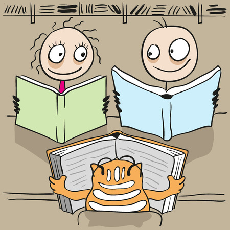cat open: Man, woman and cat reading book in library. Cartoon illustration in vector format