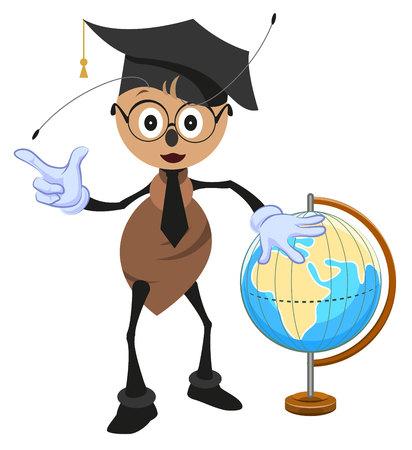 Ant teacher holding globe. Geography teacher. Cartoon illustration in vector format