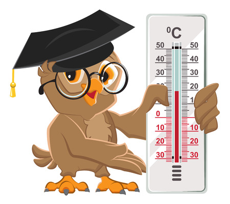 celsius: Owl teacher holding thermometer. Indoor thermometer Celsius. Isolated on white vector illustration