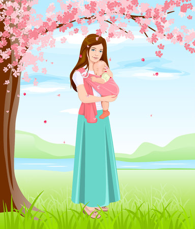 blossoming: Mom holding baby in sling. Young mother under blossoming tree. Isolated illustration in vector format Illustration