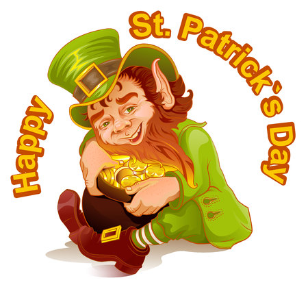 gold holidays: Dwarf embraced pot of gold. Patricks Day. Leprechaun and gold.