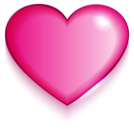 Trasparente San Valentino cuore rosso su sfondo bianco.