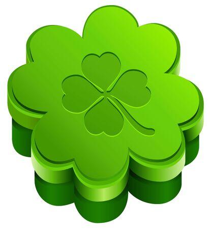 lucky clover: Green closed gift box shape of qua-trefoil leaf clover. Lucky clover leaves.