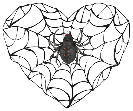 gothic heart: Spider wove web of heart shape. Heart symbol of love. Gothic love heart. Isolated on white illustration