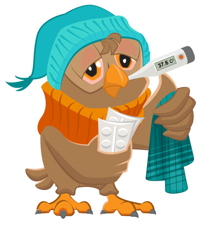 hanky: Patient owl holding thermometer and pills. Isolated on white vector illustration Illustration