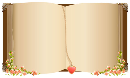 Old open book with bookmark in heart shape. Petro old book decorated with flowers. Isolated on white vector illustration Vettoriali