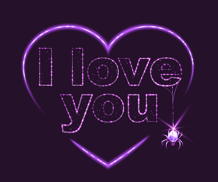 i love you heart: I love you. Heart shape of neon. Illustration in vector format