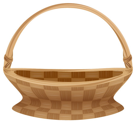 empty basket: Empty wicker basket with handle. Straw basket. Isolated on white vector illustration