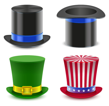 fourth birthday: Set hat magician cylinder. Uncle Sams hat. Isolated on white vector illustration