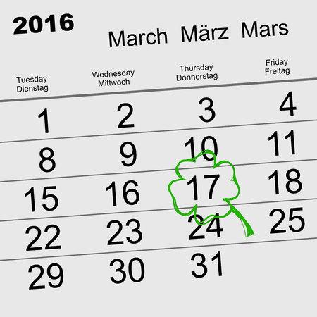 17: Saint Patricks Day. Calendar 2016 March 17. Illustration in vector format