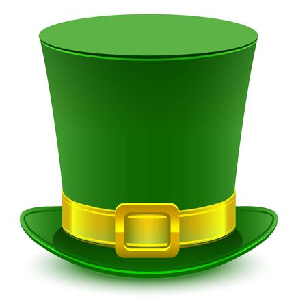 buckle: Patrick green hat with gold buckle. Isolated on white vector illustration