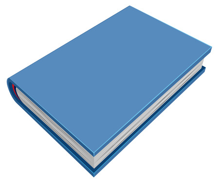 threedimensional: Blue closed hardcover book. Three-dimensional book. Isolated on white vector illustration